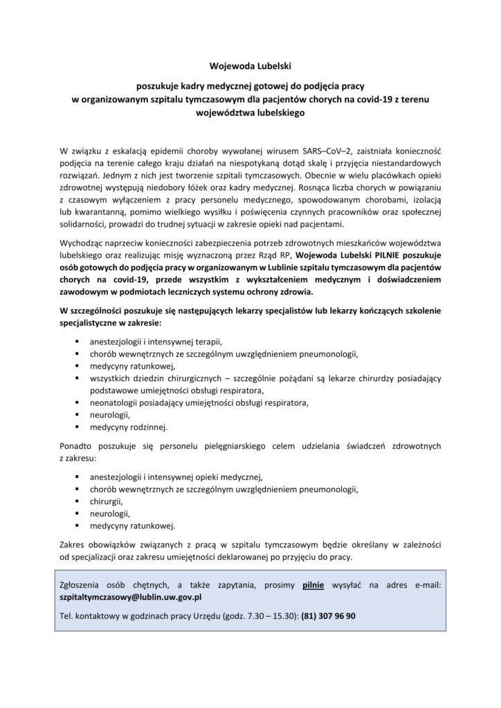 ogłoszenie wojewody lubelskiego ws. poszukiwania kadry medycznej