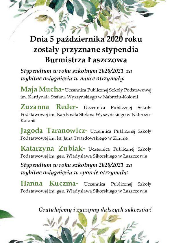 Stypendia Burmistrza Łaszczowa