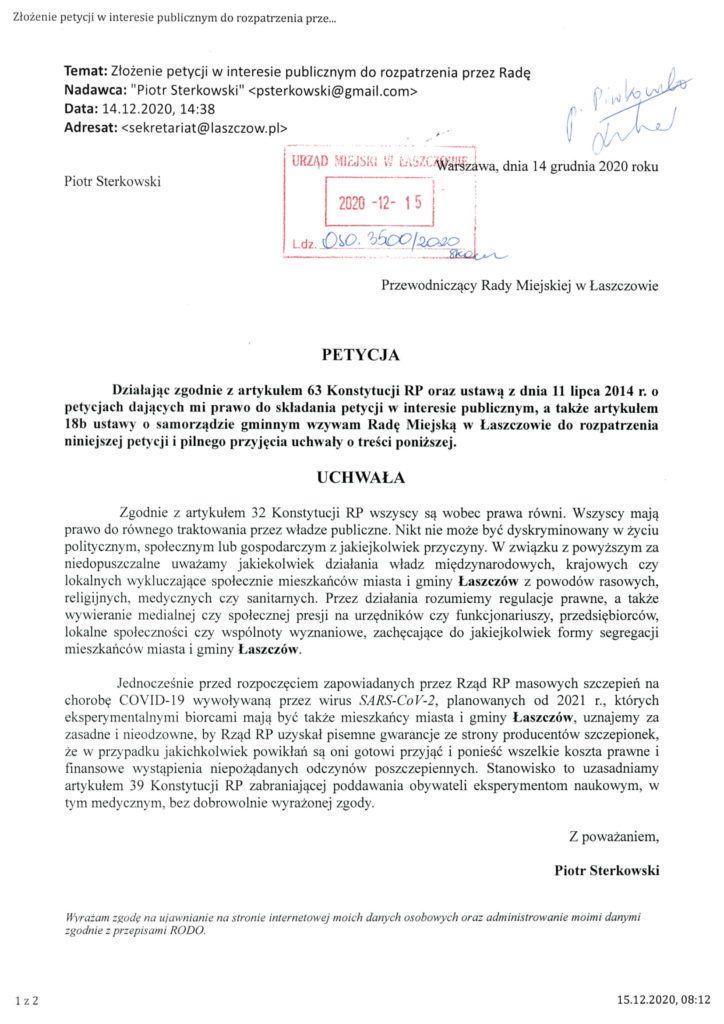 petycja w sprawie szczepionek na Covid-19
