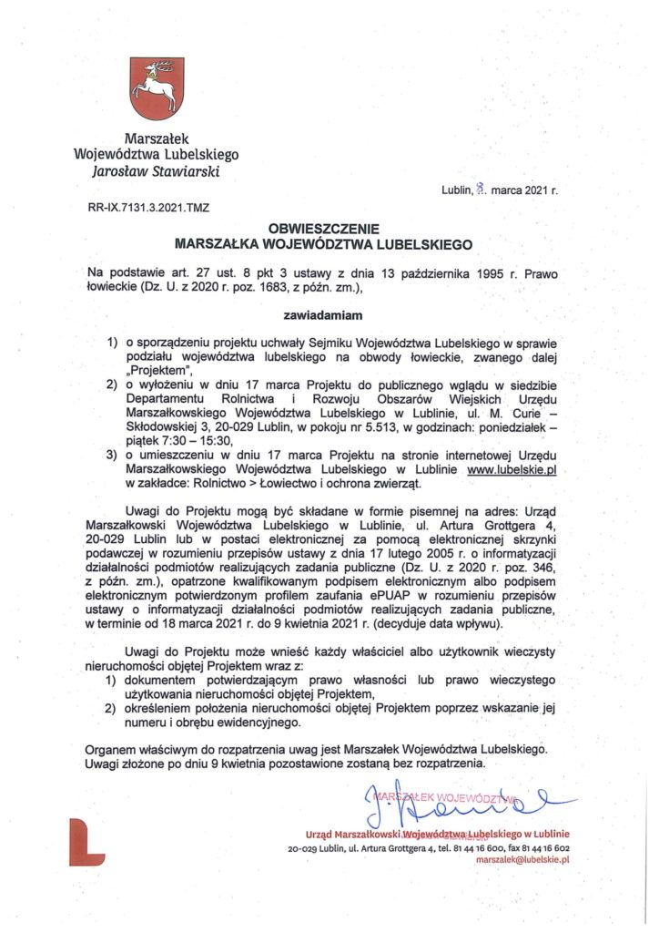 obwieszczenie dotyczące prawa łowieckiego