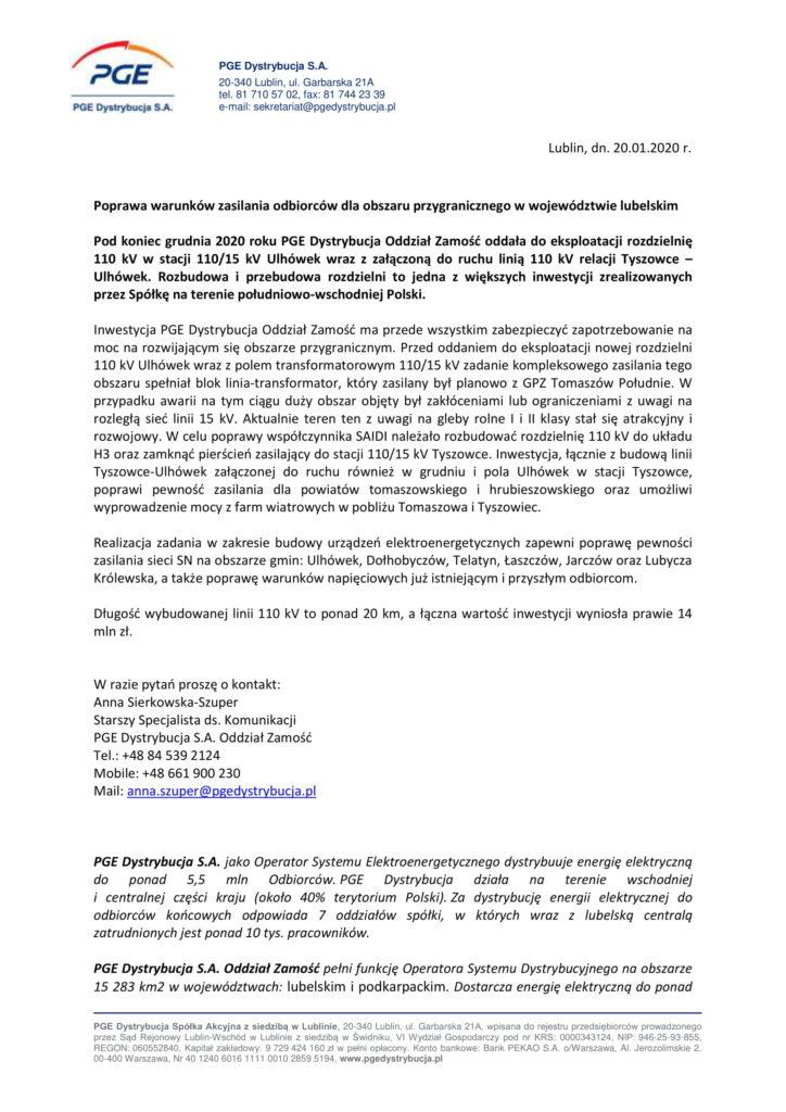 informacja od pge o poprawie warunków zasilania str1