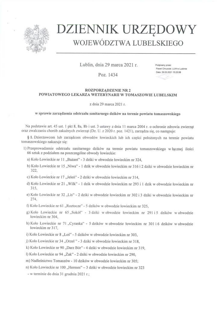 odstrzał dzików na terenie powiatu tomaszowskiego