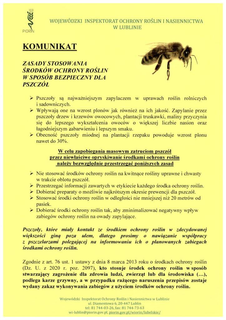 informacje o ochronie pszczół