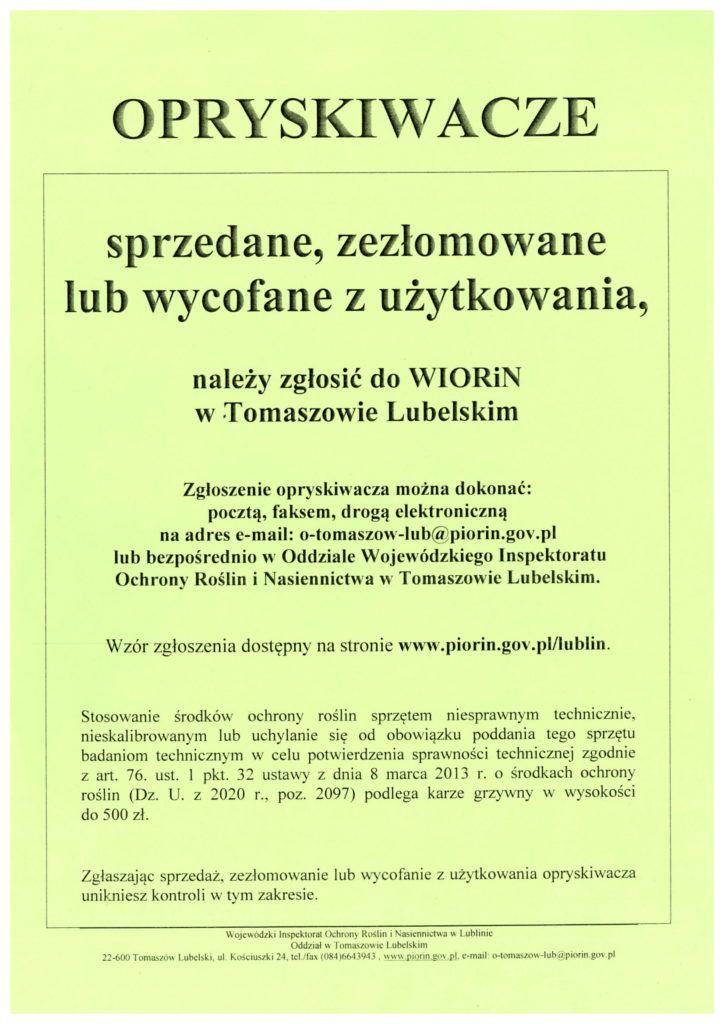 informacja o opryskiwaczach