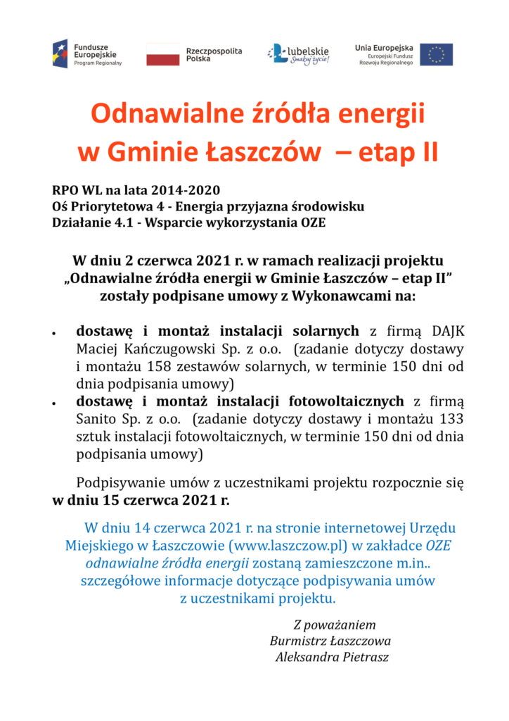 informacja o podpisaniu umów na wykonanie isntalacji8 solarnych i fotowoltaicznych