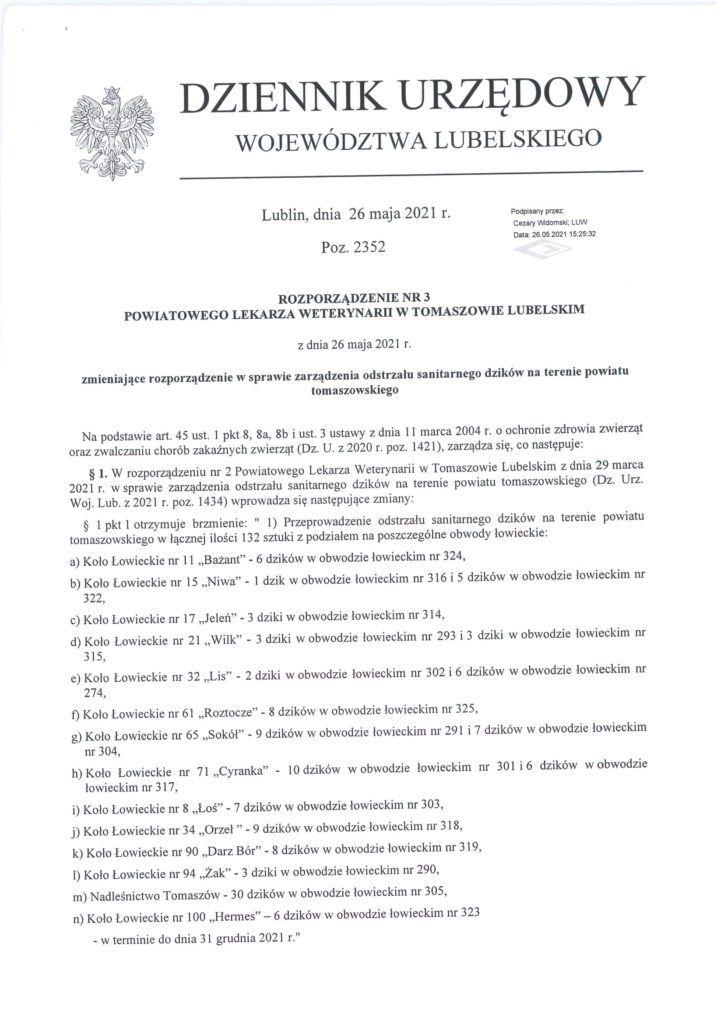 rozporządzenie w sprawie odstrzału dzików str1